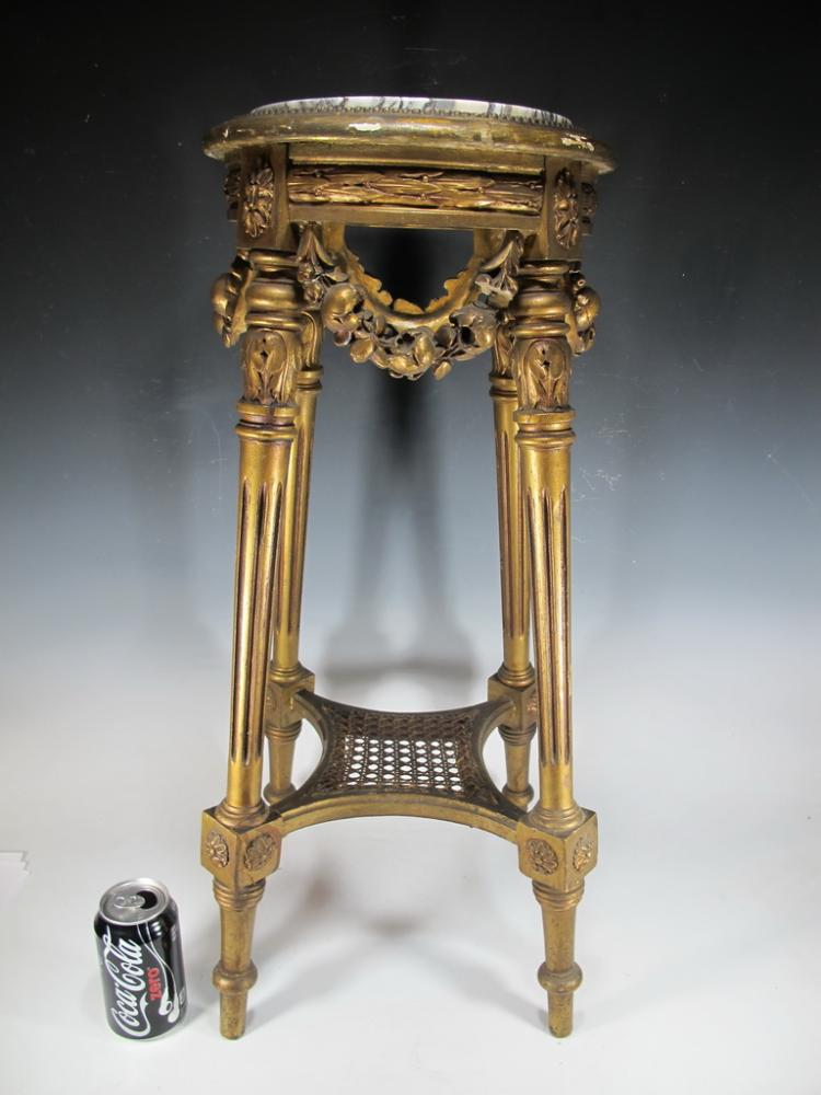 Antique French Louis XVI gilt carved wood pedestal