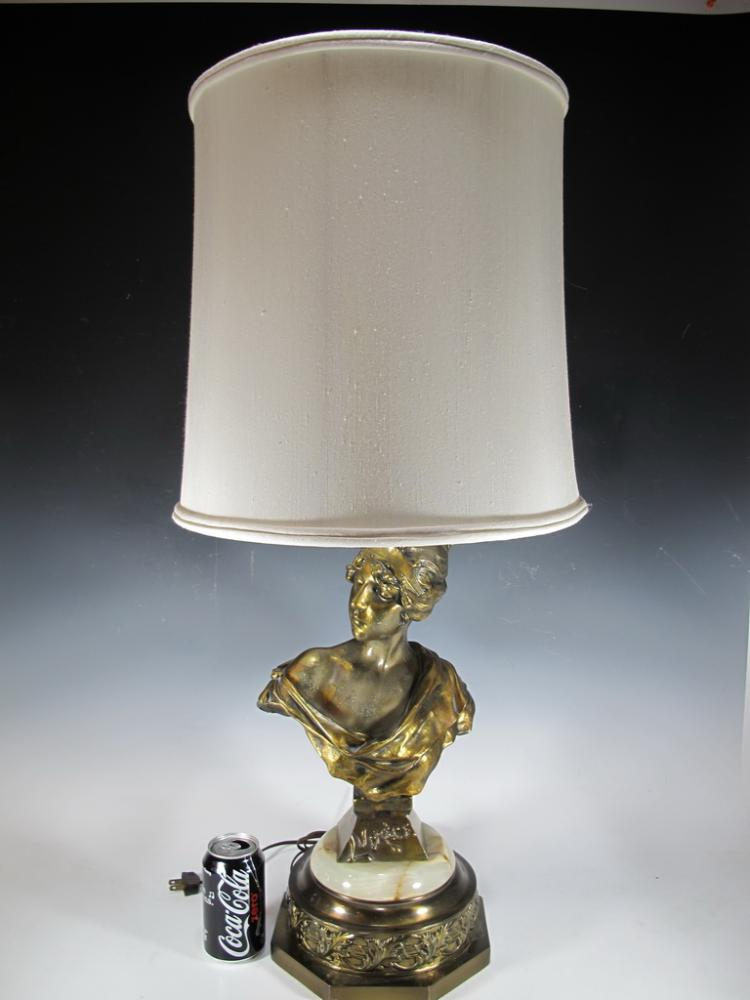 After E. VILLANIS (1858-1914) LUCRECE,  spelter lamp