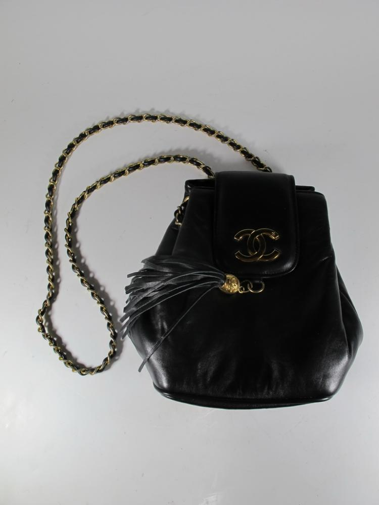 Pre owned Chanel black leather bag