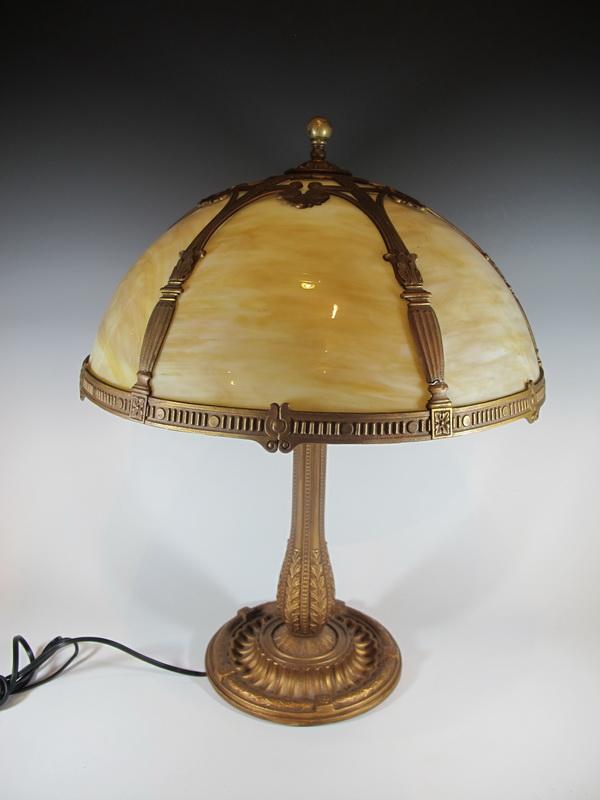 Antique probably Edward Miller & Co slag glass lamp