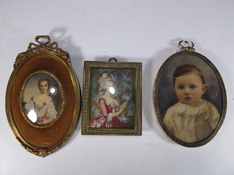 Antique set of 3 miniature prints
