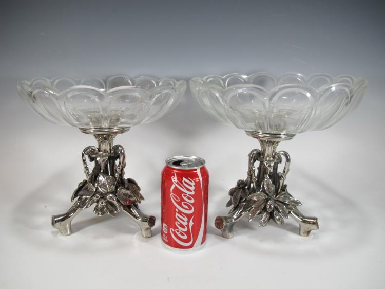 Cristofle style pair of bronze silverplated & glass fruit stands