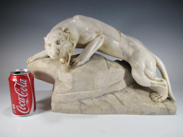Antique European panther alabaster sculpture