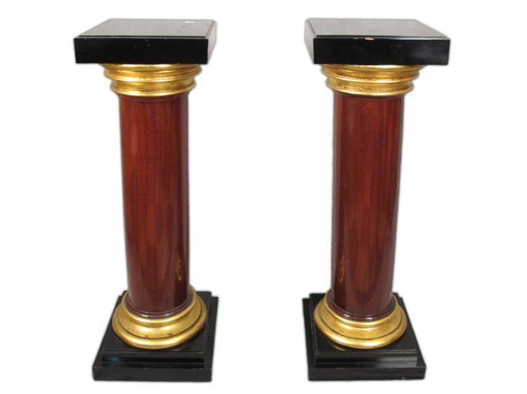 Antique English huge pair of wood pedestals
