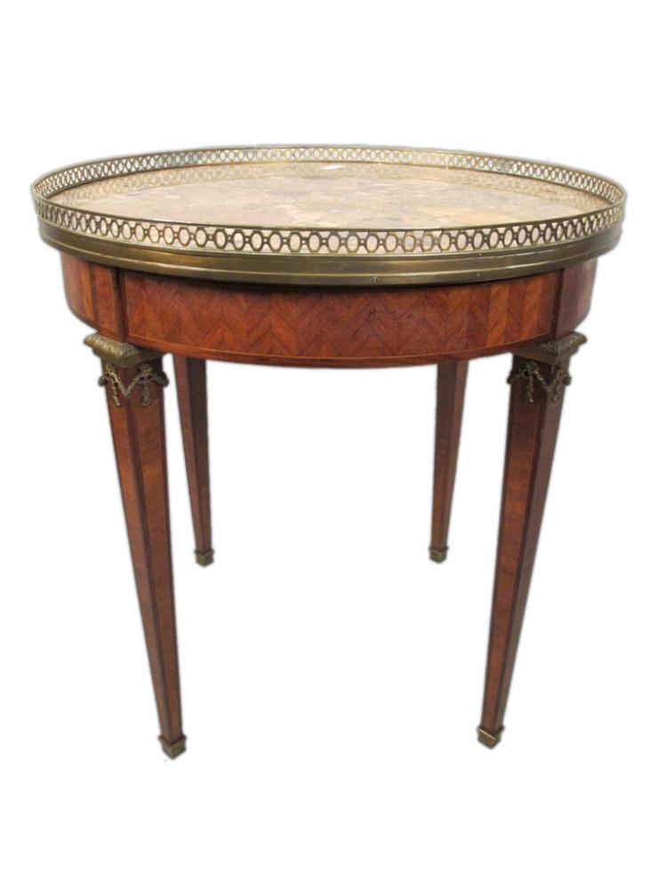 Antique French mahogany, bronze & marble side table