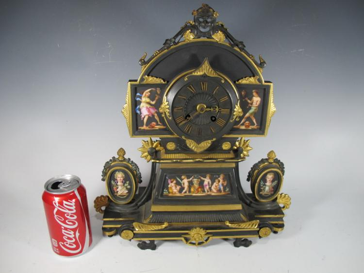 19th C Japy Freres painted bronze clock