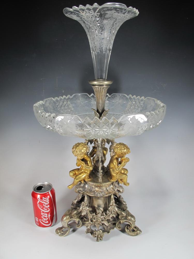 Probably Cristofle crystal & bronze centerpiece