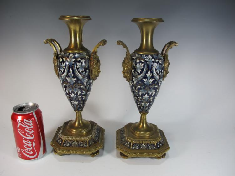 Antique pair of French bronze champleve urns