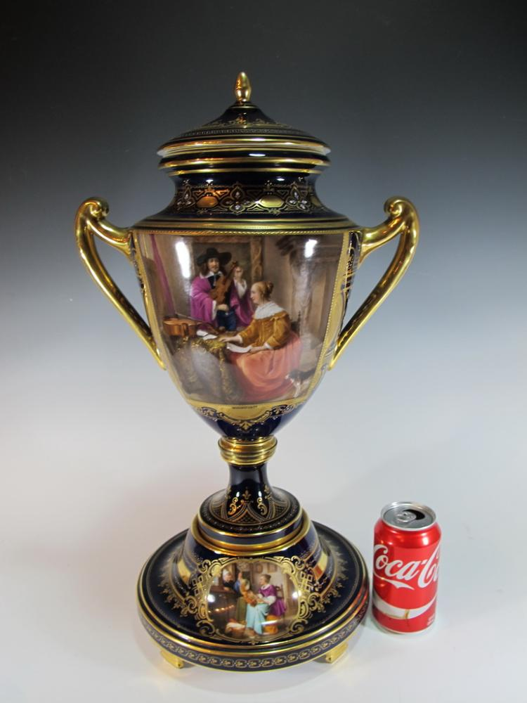 Antique Royal Vienna porcelain urn