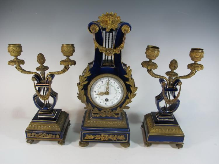 19th C French bronze & porcelain clock set