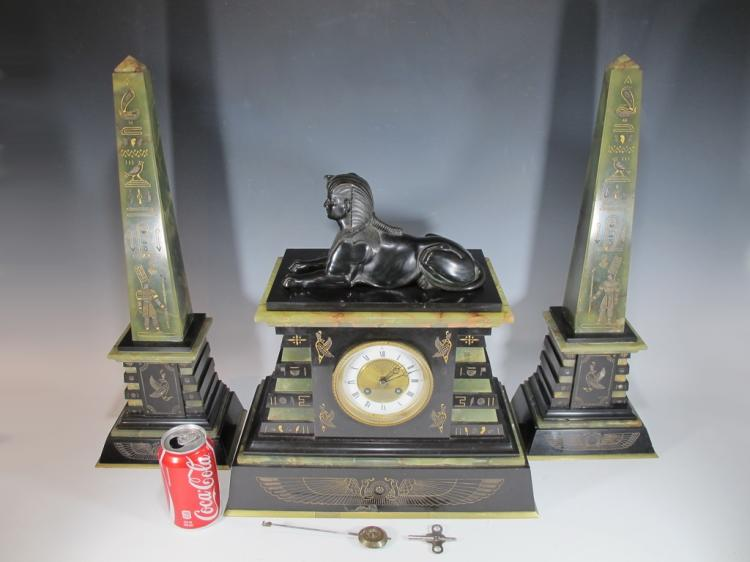 19th C French Orientalist bronze, onyx & marble clock set