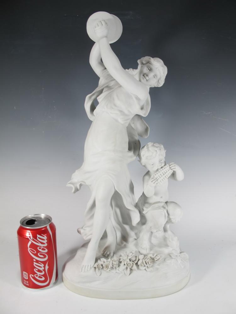 French biscuit statue La Danse Charnprete, signed