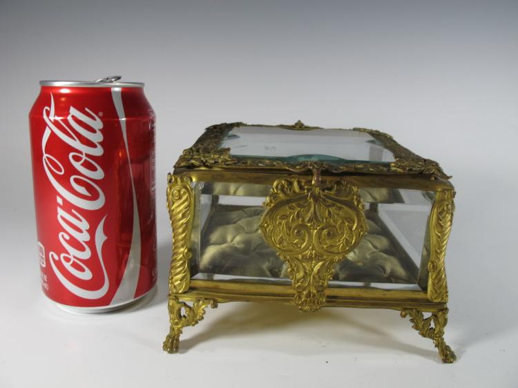 Antique French gilt bronze & bevelled glass box
