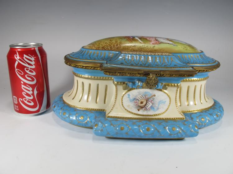 Antique probably French Sevres bronze & porcelain box