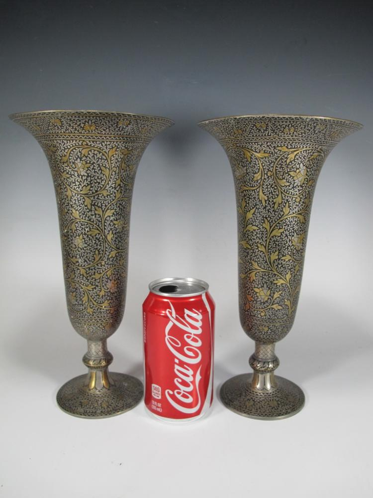 Antique Orientalist Toledo style pair of vases