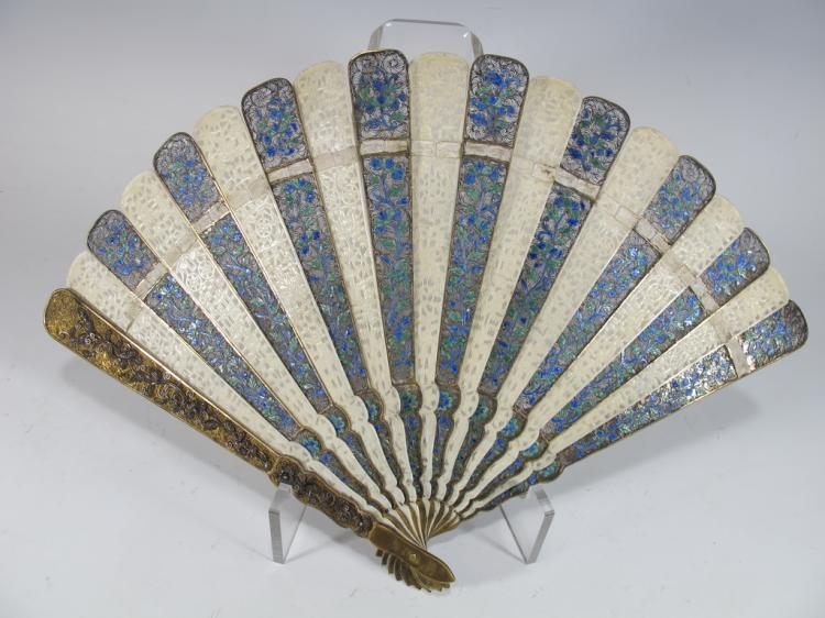 Chinese export silver fillgree and enamel fan