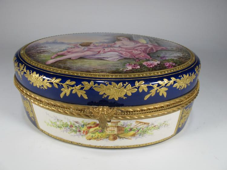 Antique French Sevres bronze & porcelain oval box