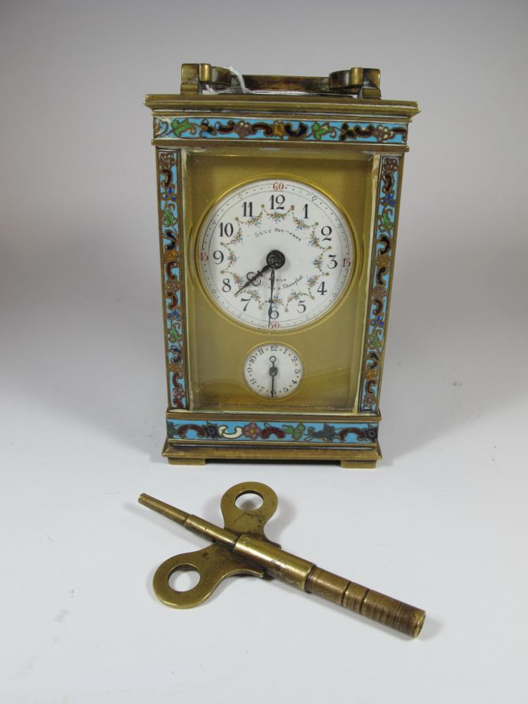 Antique Levi Hnos, Shangai champleve carriage clock