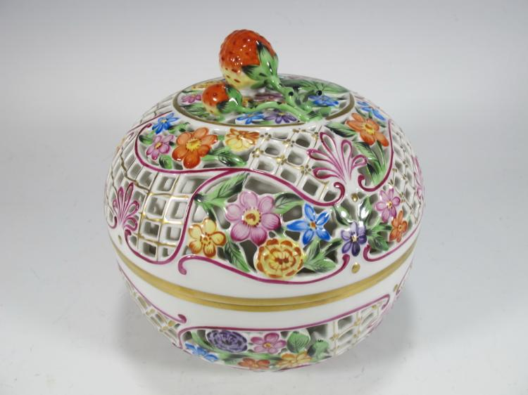Hungarian HEREND porcelain jar, marked