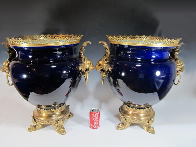 Antique French Sarreguemines pair of porcelain & bronze vases