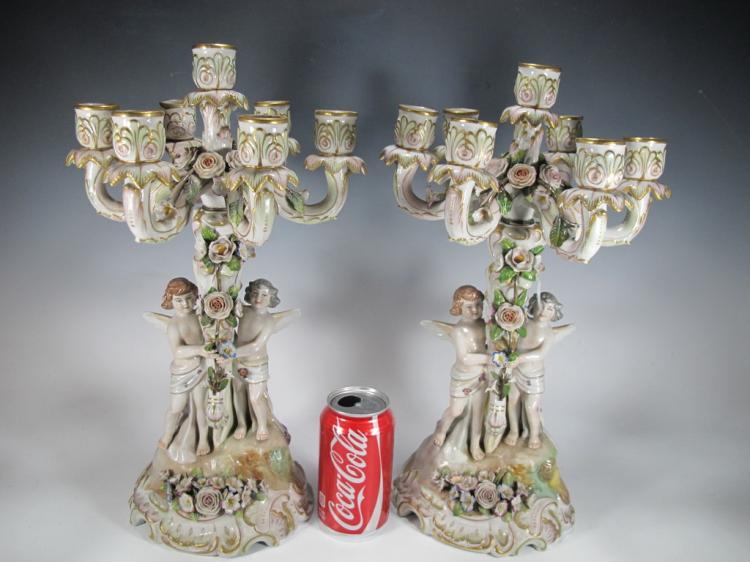 Probably German antique pair of porcelain candlesticks
