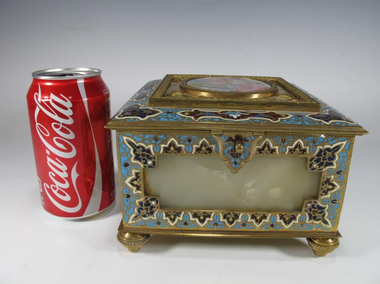 Antique French bronze champleve, porcelain & onyx box