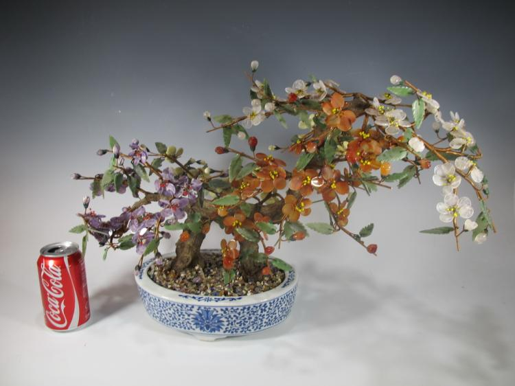 Antique Chinese stones & porcelain plant sculpture