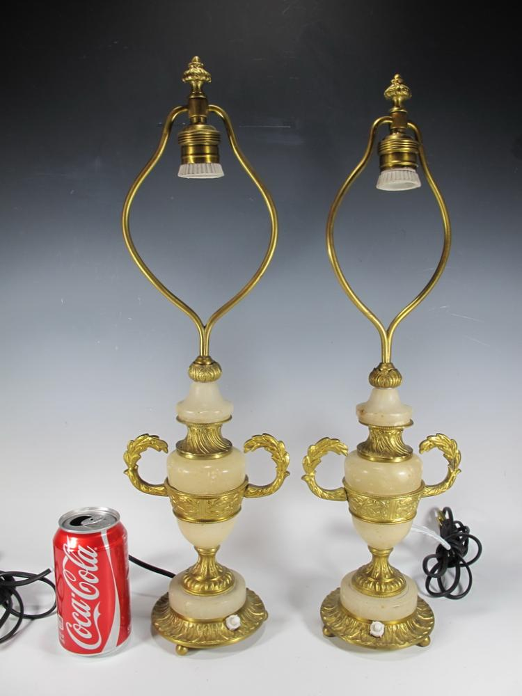 Antique pair of bronze & alabaster table lamps