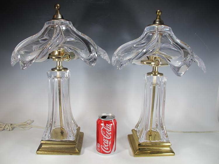 Vintage pair of murano & brass table lamps