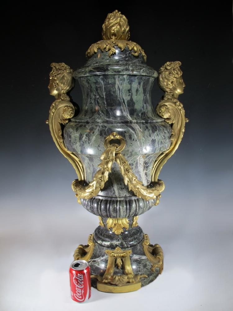 Probably Henry DASSON amazing ormolu marble Palatial urn