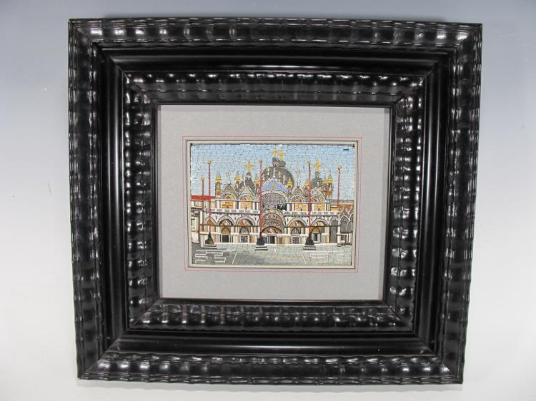 Antique European framed micromosaic