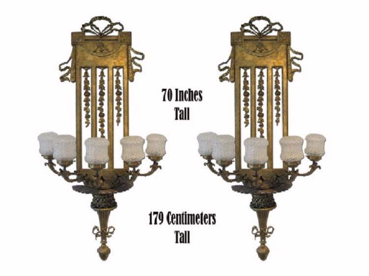 Amazing huge antique pair of bronze & glass sconces