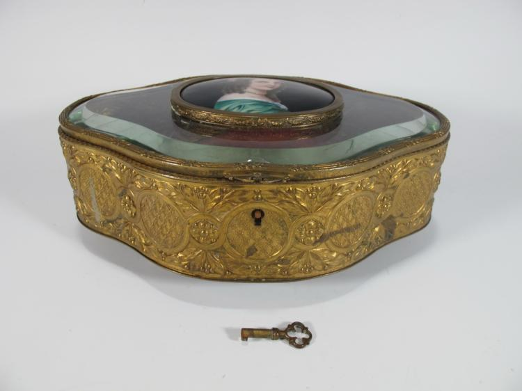 Antique French bronze, glass & porcelain box
