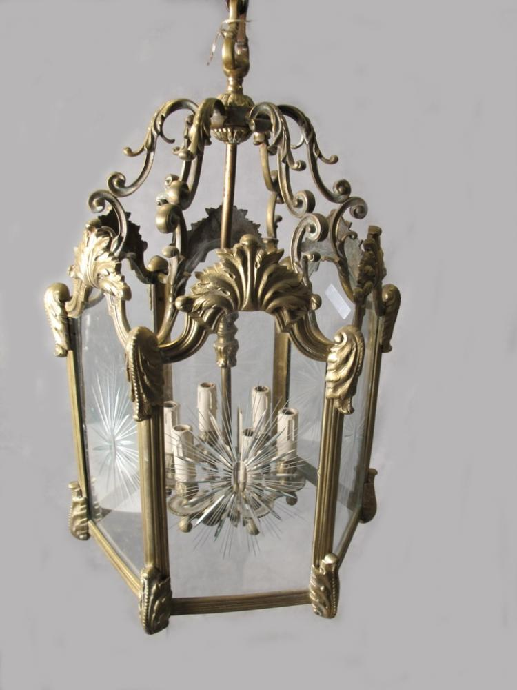 Antique French bronze & glass lantern