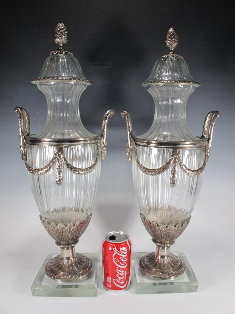 Signed Baccarat pair of bronze silverplated & glass urns