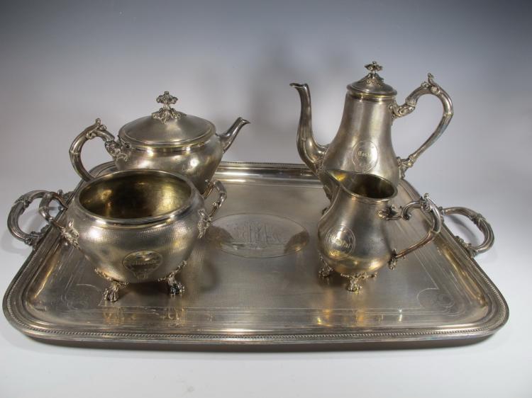 Antique French Cristofle tea-coffeepot set