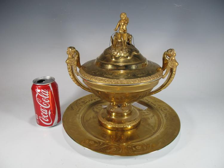 French gilt porcelain lided urn & plate