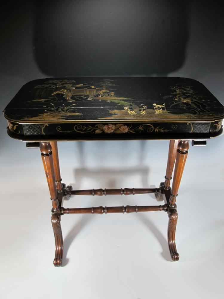 Antique Oriental painted side table