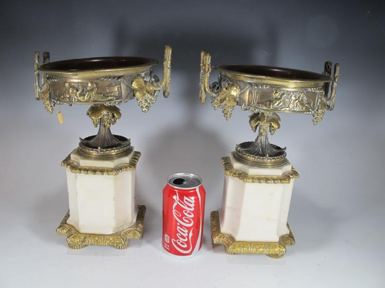 Antique French pair of marble & bronze urns