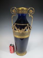 Antique Orivit-Metallwarenfabrik AOG gilt & porcelain vase