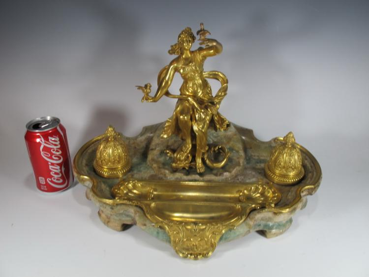 Millet a Paris Gilt Bronze & Emerald Root Inkwell Signed