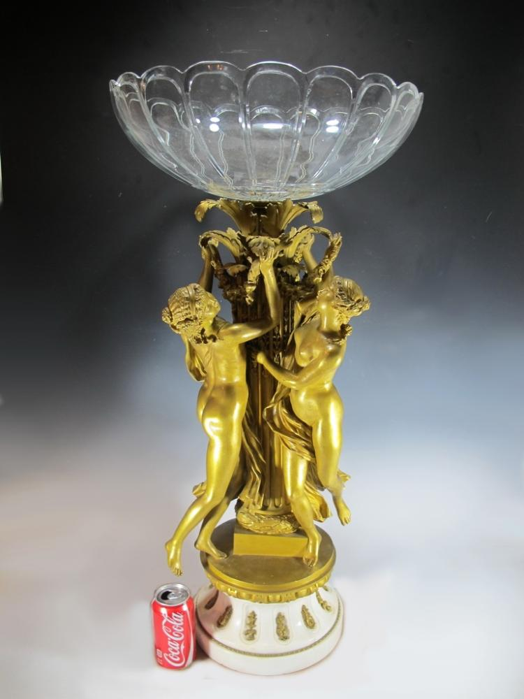 Baccarat style & Barbedienne quality bronze centerpiece