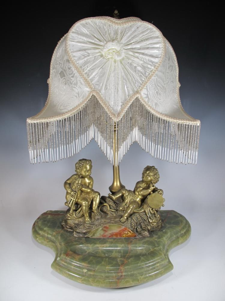 Antique bronze & onyx table lamp