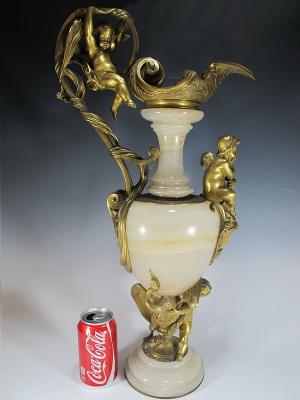 French 19th C marble & bronze pitcher