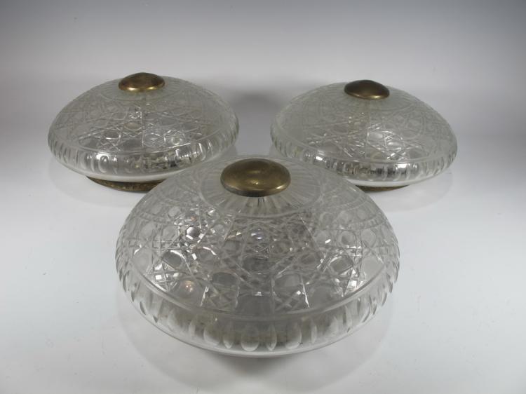 Antique set of 3 bronze & glass ceiling lights