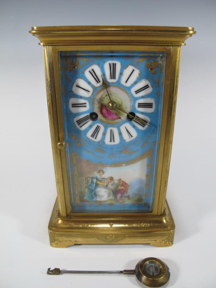 Antique French Sevres bronze & porcelain clock