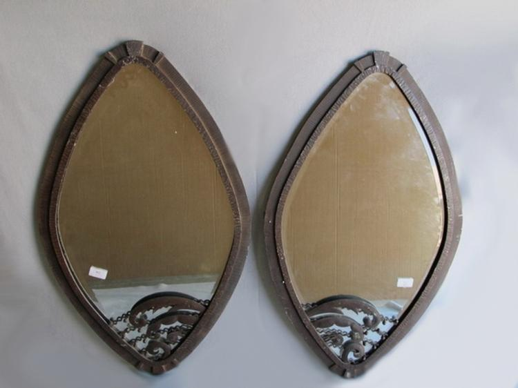 Art Deco style pair of iron mirrors
