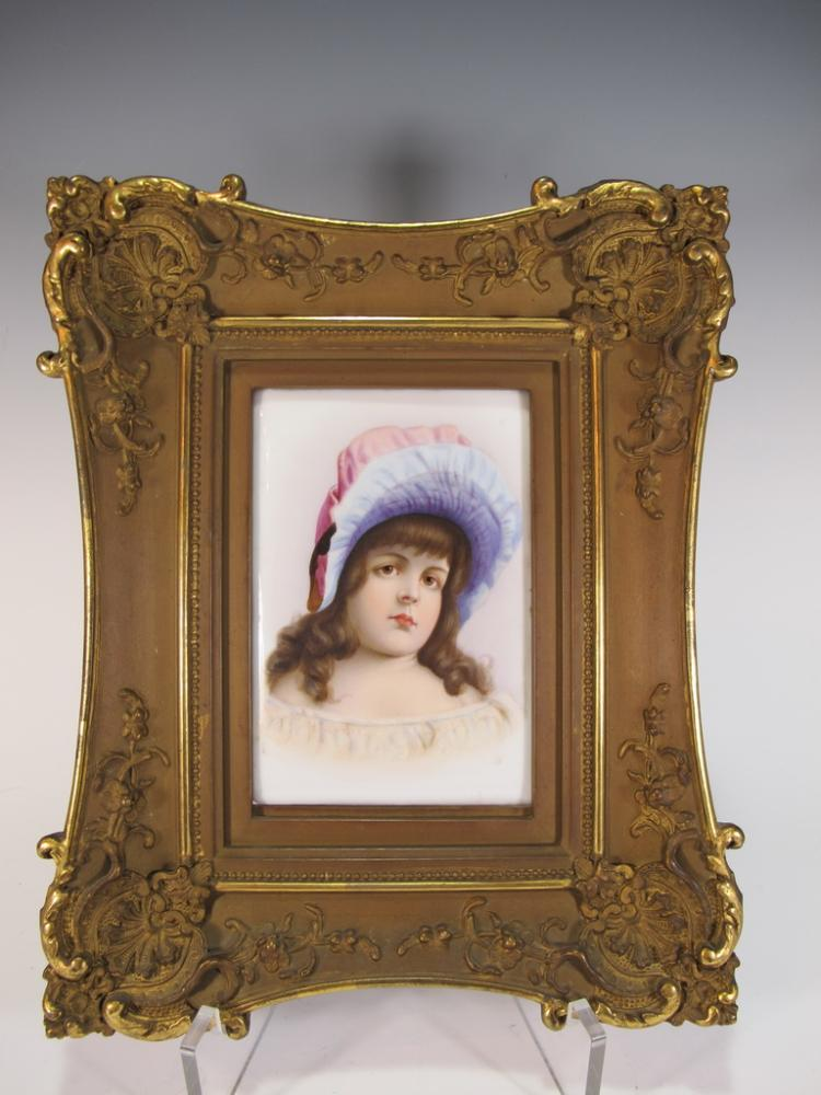 Antique European porcelain framed plaque
