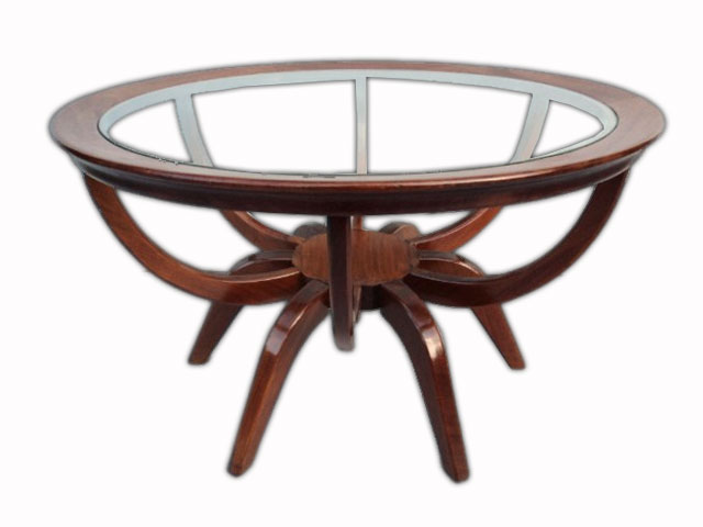Mid-Century Mahogany Glass Top Coffee Table