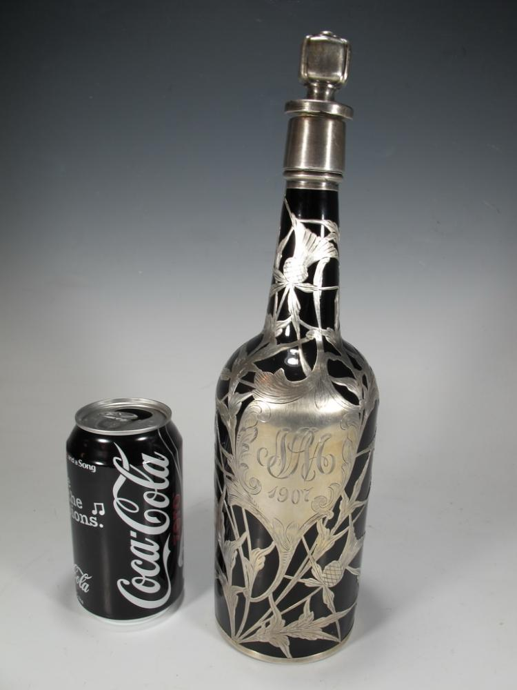 Antique silver overlay glass bottle, dated 1907
